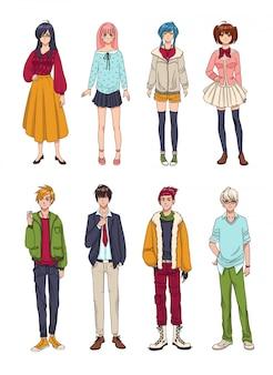 Satz niedlicher anime-charaktere. cartoon mädchen und jungen. bunte hand gezeichnete illustrationssammlung.