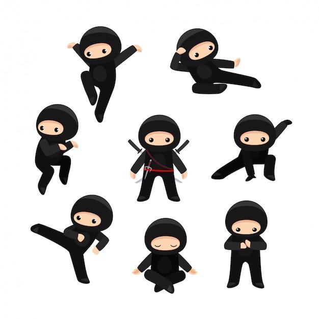 Satz niedlicher cartoon-ninja in verschiedenen posen.