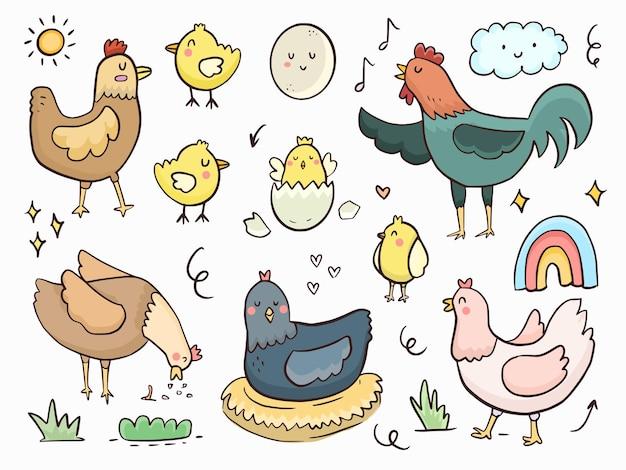Satz niedlicher hühnerhennen-gekritzelillustrations-zeichnungskarikatur für kinder, die färben und drucken