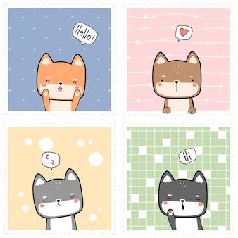 Satz niedlicher japanischer hund shiba inu freunde, die cartoon gekritzel flache designkarte begrüßen