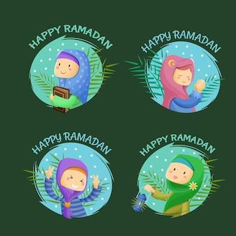 Satz niedlicher karikaturmoslemische mädchen, die ramadan kareem begrüßen
