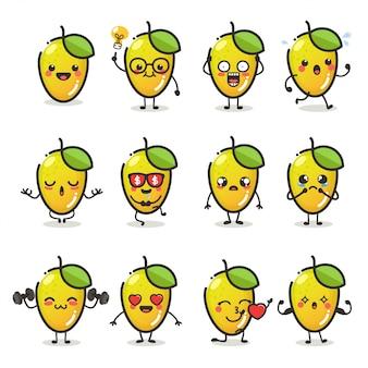 Satz niedlicher mangofruchtcharakter in verschiedenen aktionsemotionen