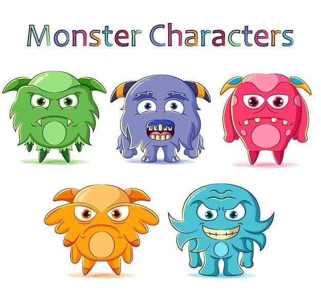 Satz niedlicher monstercharakter