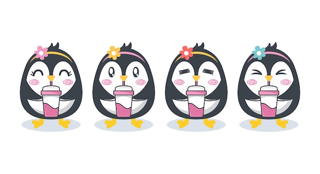 Satz niedlicher pinguincharakterkarikatur
