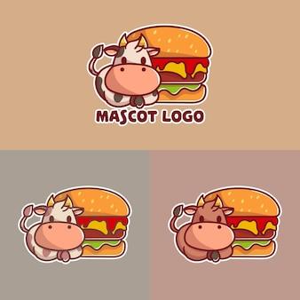 Satz niedlicher rindfleischburger mit kuhmaskottchenlogo mit optionalem aussehen.