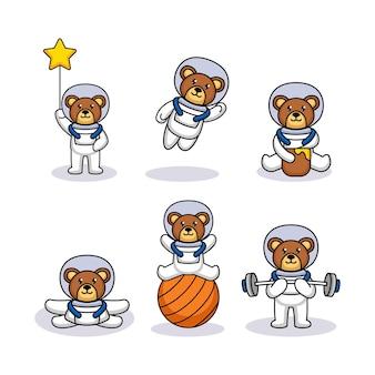 Satz niedlicher teddybär mit astronautenkostüm