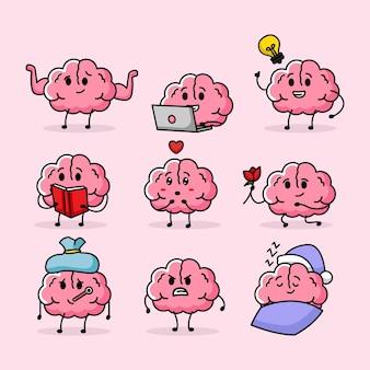 Satz niedliches gehirn mit verschiedenen emotionen und pose