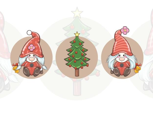 Satz niedliches gnom-mädchen, das klingelglocken und weihnachtsbaum hält - weihnachtsillustration