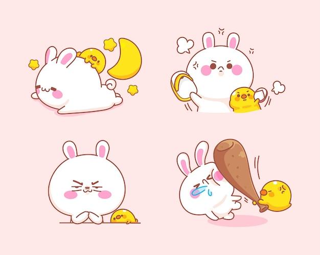 Satz niedliches kaninchen mit entengefühl böse karikaturillustration