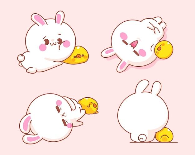 Satz niedliches kaninchen mit entenkarikaturillustration