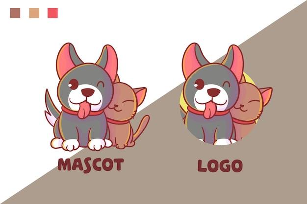 Satz niedliches katzen- und hundemaskottchenlogo mit optionalem aussehen.