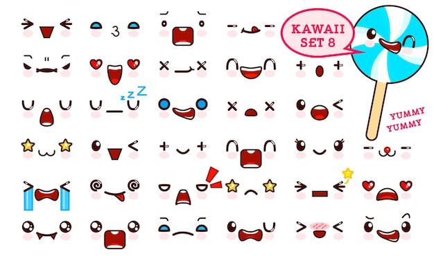 Satz niedliches kawaii emoticongesicht und süße süßigkeit auf einem stock kawaii