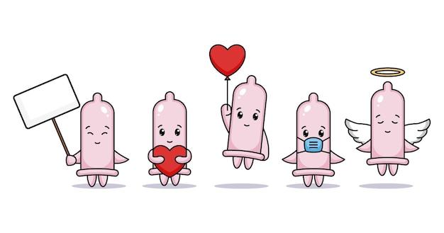 Satz niedliches kondom im valentinstag