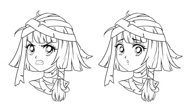 Satz niedliches manga-mumienmädchenporträt. zwei verschiedene ausdrücke. hand gezeichnete vektorkonturillustration des retro-anime-stils der 90er jahre. isoliert.