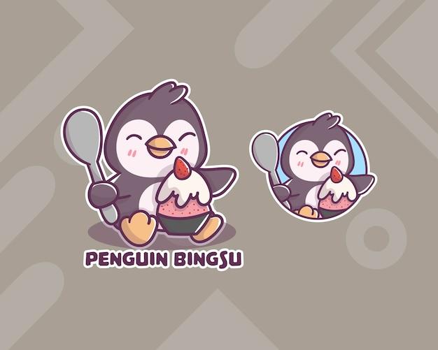 Satz niedliches pinguin-bingsu-logo mit optionalem aussehen. kawaii