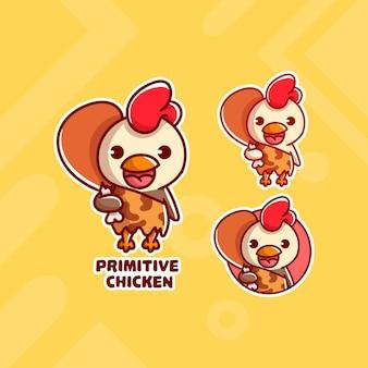 Satz niedliches primitives hühnerlogo mit optionalem aussehen. kawaii
