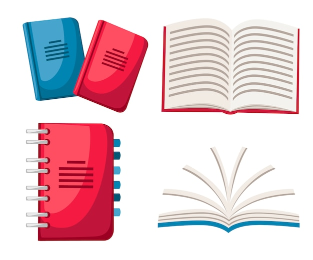 Satz notizbücher. spiral- und normales notebook. büro-symbol. geschlossene und geöffnete notizbücher. illustration auf weißem hintergrund
