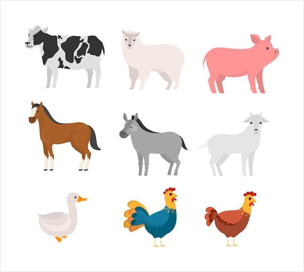Satz nutztier. sammlung von niedlichen haustier tier. kuh und pferd, schwein und gans. illustration