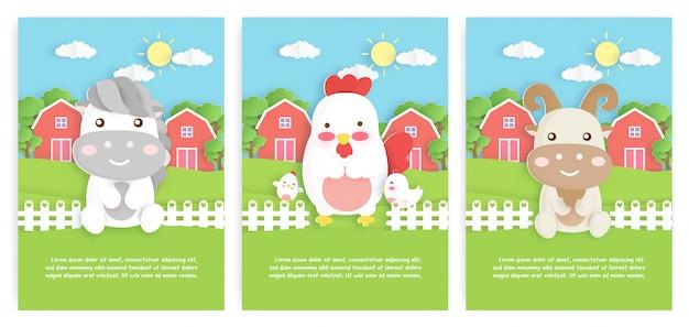 Satz nutztier-schablonenkarten mit niedlichem hühner-, pferde- und ziegencharakter