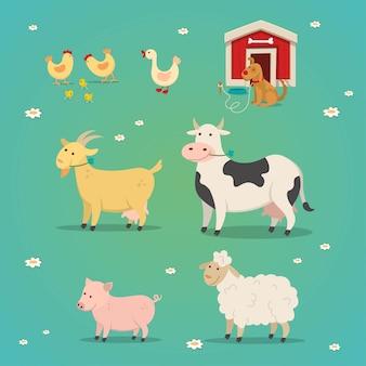 Satz nutztiere in einem flachen karikaturstil. illustration huhn, kuh, ziege, schwein, ente, hund.