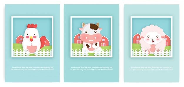 Satz nutztierkarten für geburtstagskarte und grußkarte.