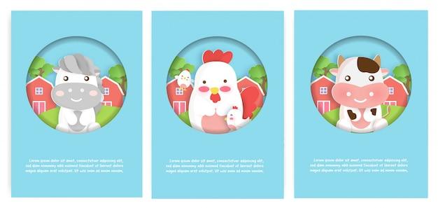 Satz nutztierkarten mit niedlichem haus, hühnern und kuh für geburtstagskarten.