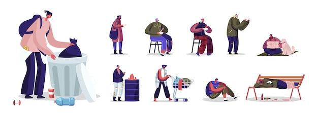 Satz obdachloser männlicher und weiblicher charaktere, männer und frauen, die zerlumpte kleidung tragen, holen müll auf der straße ab. cartoon-menschen-illustration