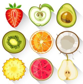 Satz obst und gemüse. apfel, kiwi, orange, erdbeere, avocado, birne, ananas und guave