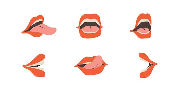 Satz offene münder weiblicher lippen, zähne und zunge sprechender mund in verschiedenen versionen