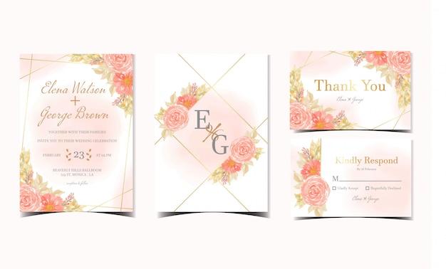 Satz orange blumenhochzeitseinladungssammlung mit rosen und gänseblümchenblumen