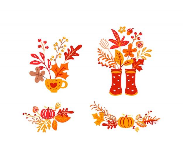 Satz orange herbstlaubblumensträuße mit gummistiefeln