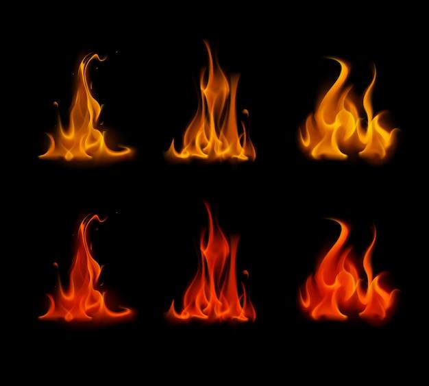 Satz orange red fire flame lagerfeuer auf hintergrund