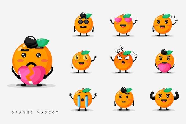Satz orangen süßes maskottchen
