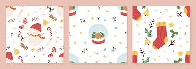 Satz organische handgezeichnete weihnachten nahtlose muster-vektor-illustration
