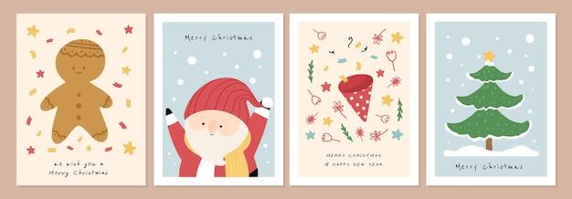 Satz organische handgezeichnete weihnachtskarten-vektorillustration