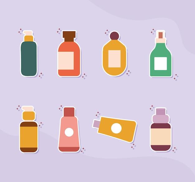 Satz organische kosmetische ikonen