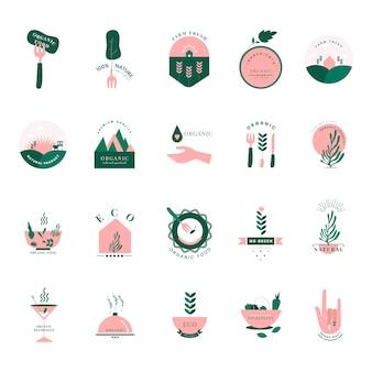 Satz organische und gehen grüne ikonen