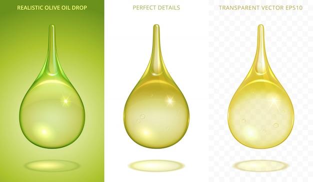 Satz organischer tröpfchen. 3d realistische tropfen mit einem anderen grünlichen farbton. ikonen von olivenöl, grünem tee, biokraftstoff oder natürlichem schönheitsöl. verlaufsgitter mit einer transparenz. perfekte details.