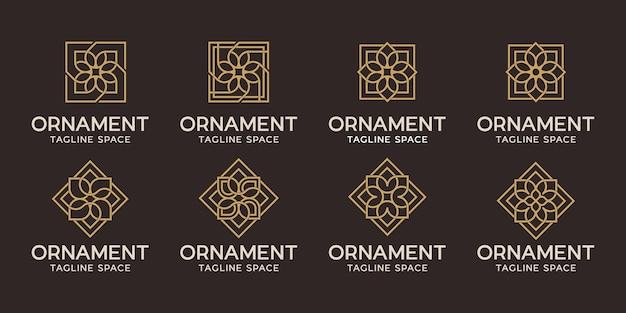 Satz ornament-logo-design. blumenlogolinie schwarz und gold