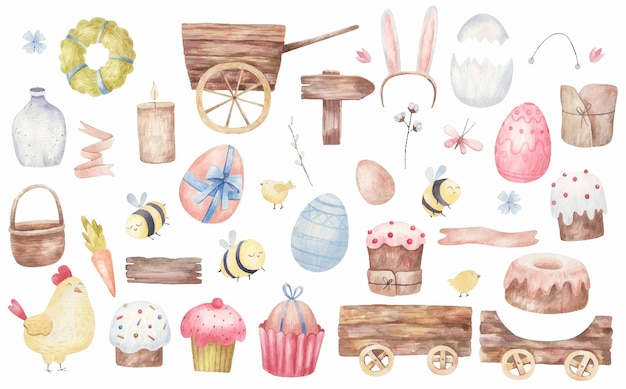 Satz osterartikel, osterkuchen, karren, eier, bienen, blumen, aquarellillustration auf einem weißen hintergrund