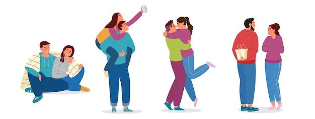 Satz paare in der liebe. umarmen, selfie machen, geschenke geben, musik hören. auf weiß isoliert.