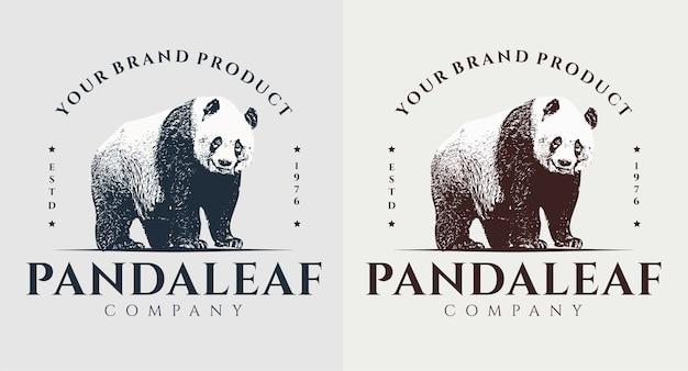 Satz panda blatt vintage logo