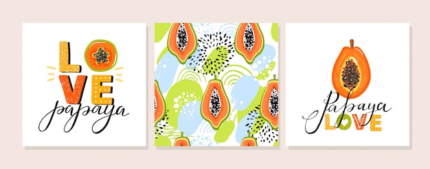 Satz papaya-illustration.