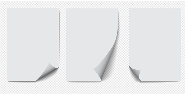 Satz papier a4 mit gekräuselter ecke auf transparentem hintergrund mit schatten, realistische papierseite.