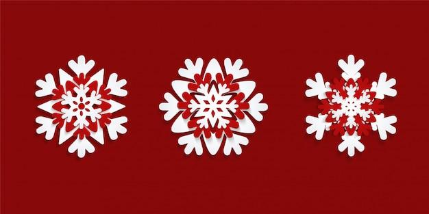Satz papier geschnittene schneeflocken