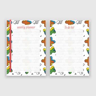 Satz papier im a4-format mit wochenplaner und liste für notizenvorlagen
