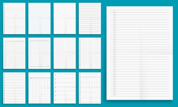 Satz papier im leeren serienformat, planer, checkliste.