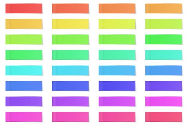 Satz papieraufkleber für notizen. papier notizen isolatet.