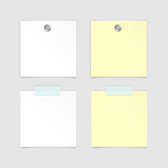 Satz papieraufkleber haftnotiz-post-memo-etikett auf weißem hintergrund