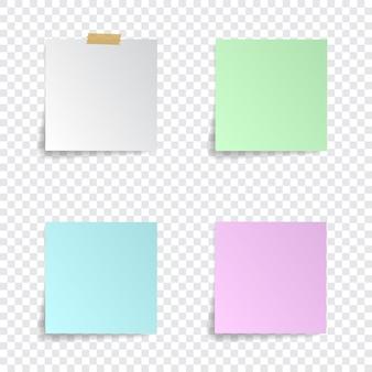 Satz papieraufkleber mit schatten auf transparentem